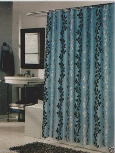 Flocked Texture Polyester Fabric Shower Curtain LEAF BLUE Silver
