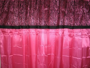 "Hot Pink & Black Color Flocked ""ZEBRA"" Texture Fabric Shower / Bath Curtain"