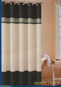 "Soft Microfiber Fabric Shower Curtain ""Monte Carlo"" - BLACK, Grey & White colors"