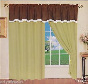 "New Elegant Soft MICROFIBER 2 Panels Curtains / Drapes Set ""LACEY""- SAGE & BROWN"