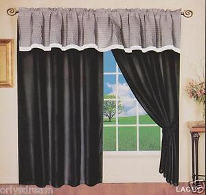 "New Elegant Soft MICROFIBER 2 Panels Curtains / Drapes Set ""LACEY""- BLACK & GRAY"