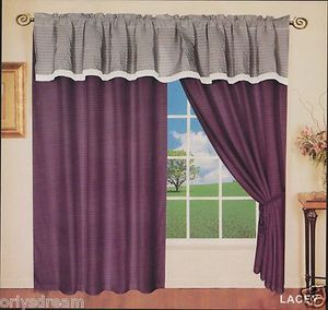 "New Elegant Soft MICROFIBER 2 Panels Curtains / Drapes Set ""LACEY""-PURPLE & GRAY"