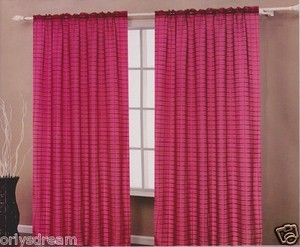 TWO Panels CHECKED Texture Rod Pocket SHEER VOILE Fabric Curtain Set - BURGUNDY