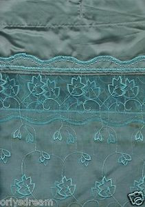 """EMBROIDERY Fabric Shower Bath Curtain With Liner & Metal """"Roller"""" Rings - SAGE"""
