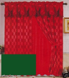 Luxury JACQUARD Window Curtain / Drape Set With Satin Valance & Backing - HUNTER