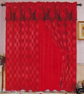 Luxury JACQUARD Window Curtain / Drape Set With Satin Valance & Backing-BURGUNDY