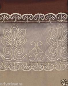 "Beautiful Elegant EMBROIDERY 2 Panel Curtain Set ""SHERRY""-CHOCOLATE BROWN & GOLD"