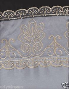 "Beautiful Elegant EMBROIDERY 2 Panel Curtain Set ""SHERRY""- BLACK & SILVER / GREY"