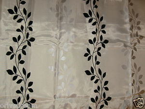 "Flocked Texture Polyester Fabric Shower Curtain""LEAF"" BEIGE/WHITE Silver & Black"