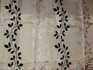 Flocked Texture Polyester Fabric Shower CurtainLEAF BEIGE WHITE
