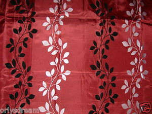 "Flocked Texture Polyester Fabric Shower Curtain ""LEAF""-BURGUNDY / Silver & Black"