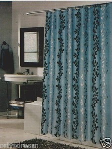 "Flocked Texture Polyester Fabric Shower Curtain ""LEAF"" - BLUE / Silver & Black"