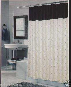 "Embroidery Polyester Fabric Shower Curtain ""DIAMOND"" - BEIGE & Chocolate Brown"