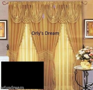 Sheer & Lace Victorian Window Curtain Set w/Satin Valance & Backing Panel-BLACK