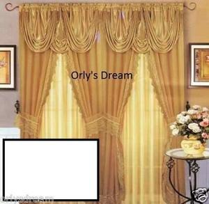 Sheer & Lace Victorian Window Curtain Set w/Satin Valance & Backing Panel-WHITE