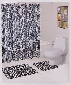 "15 pc. Bath Mat Set+Fabric Shower Curtain+Fabric Covered Hooks - ""ZEBRA"" WHITE"