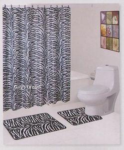 "15 pc. Bath Mat Set+Fabric Shower Curtain+Fabric Covered Hooks - ""ZEBRA"" WHITE"