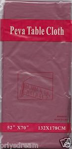 "NEW Peva Table Cloth 52"" x 70"" (132cm x 178cm) - BURGUNDY"