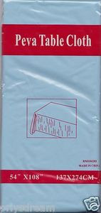 "NEW Peva Table Cloth 54"" x 108"" (137cm x 274cm) - LIGHT BLUE"