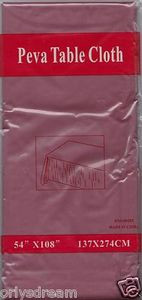 "NEW Peva Table Cloth 54"" x 108"" (137cm x 274cm) - BURGUNDY"