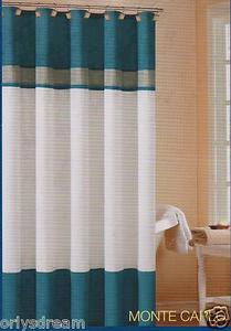 "Soft Microfiber Fabric Shower Curtain ""Monte Carlo"" - BLUE, Grey & White colors"