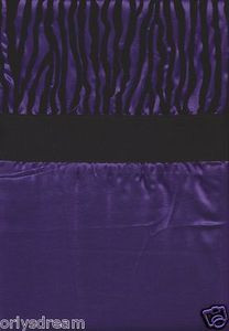 "Dark Purple and Black Color Flocked ""ZEBRA"" Texture Fabric Shower / Bath Curtain"