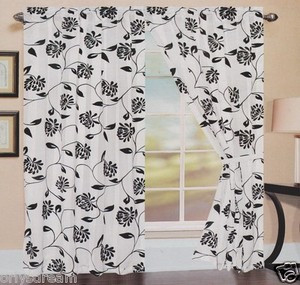 TWO Panels FLOCKED Texture SHEER & SATIN Fabric Curtain Set - BLACK & WHITE