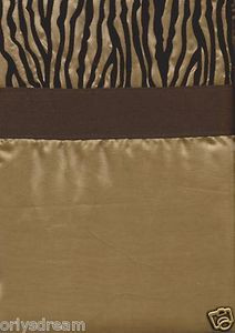"Camel/Gold & Dark Brown Color Flocked ""ZEBRA"" Texture Fabric Shower/Bath Curtain"