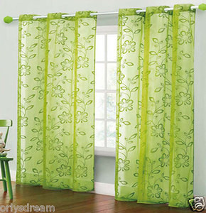 TWO Panels FLOCKED Texture Grommet Panels SHEER Fabric Curtain Set - HOT GREEN