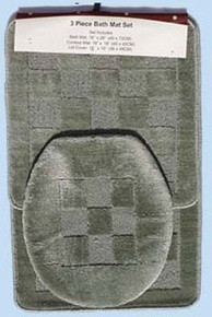 3 Pc. Bathroom Mat/Rug SET: Bath and Contour Rug/Mat+Toilet Lid Cover-DARK GREEN
