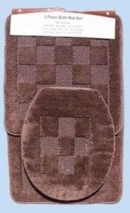 3 Pc. Bathroom Mat/Rug SET: Bath and Contour Rug/Mat + Toilet Lid Cover - Brown