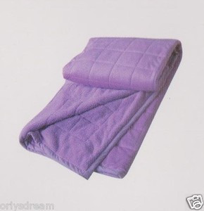 QUEEN Soft BORREGO Suede/Wool Style QUILTED Micro Fiber Blanket/Throw - PURPLE