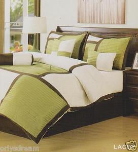 "7 Pcs Soft Microfiber Patchwork KING Size Comforter Set ""LACEY"" Sage Green - NEW"
