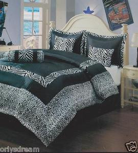 "7 Pcs QUEEN Size Comforter Set, White & Black ""ZEBRA & LEOPARD"" Flocking Texture"