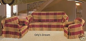 3 Pcs Slipcovers Set, Sofa +Loveseat +Chair Cover / Slipcover - BURGUNDY & GOLD