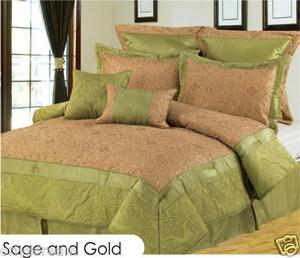 KING size Bed in a Bag 8 pc. Comforter / Bed / Bedding Set Sage & Gold colors