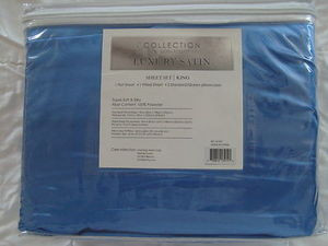 "Luxury Soft ""Silk"" / ""Silky"" 4 Pc. KING Size Bed Satin Sheet Set - Solid Blue"