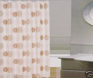 New Modern Design Printed Fabric Shower / Bath Curtain +12 Rings / Hooks - BEIGE