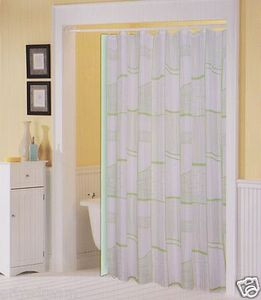 Printed Fabric Shower/Bath Curtain +12 Rings/Hooks + Vinyl Liner - WHITE & GREEN