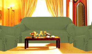 3 Pcs Slipcovers Set,Sofa+Loveseat+Chair Covers - Dark SAGE Green Color