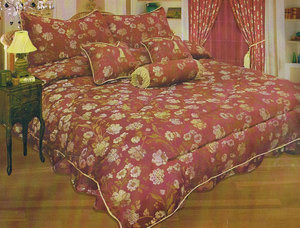 QUEEN jacquard 11 pc COMFORTER set + CURTAINS , DRAPES