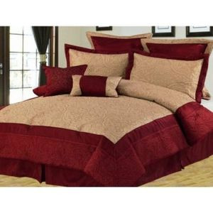 Queen size Bed in a Bag 8 pc.Comforter / Bed / Bedding Set Burgundy & Gold color