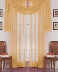 2 Panels 1 Scarf Voile Sheer Curtains Drapes Set - Gold