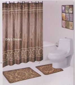 "15 pc. Bath Mat Set/Fabric Shower Curtain/Fabric Covered Hooks - ""Damask"" Brown"