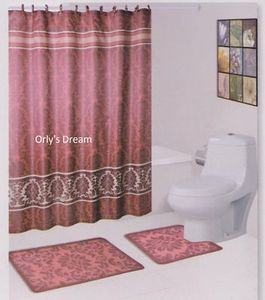 "15 pc. Bath Mat Set/Fabric Shower Curtain/Fabric Covered Hooks-""Damask"" Burgundy"