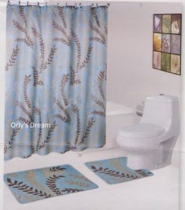 15 pc. Printed Bath Mat Set/Fabric Shower Curtain/Fabric Covered Hooks-MOSS BLUE
