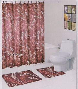 15 Pc Bath Mat Set Fabric Shower Curtain Covered Hooks