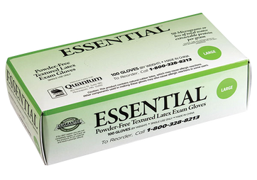 Essential PF Textured Latex Exam Gloves, $8.47 per 100 gloves, 10 boxes of 100 per case