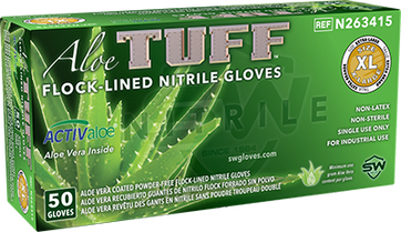 AloeTuff Flock-Lined Powder-Free Nitrile Industrial Glove, $25.44 per 100 gloves, 10 boxes of 50 per case