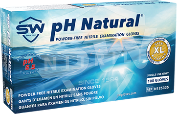 pH Natural Nitrile Powder-Free Exam Gloves, $10.34 per 100 gloves, 10 boxes of 100 per case
